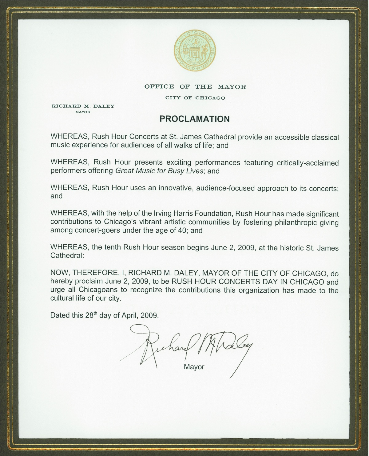 Rush Hour Mayoral Proclamation